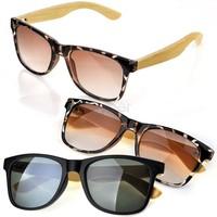 2014 Hot New Unisex Handmade Black/ Leopard Print Bamboo Sunglasses Rivet Eyewear Eyeglasses UV 400 For Men Women SV000289 B19