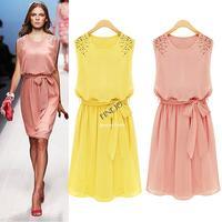 2014 Women's Summer Handmade Bead Shoulder long Bohemian Chiffon Dress Bow Belt Sleeveless Pleated Vest Dress 36
