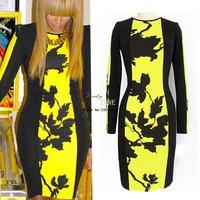 Hot Sale! New European Fashion Women Yellow Black Print Bodycon Pencil Dress Elegant Party Bandage Dresses b8 SV002326