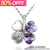 50% OFF Four Leaves Crystal Clover Necklace Fashion Crystal Jewelry 15pcs/lot Free Shipping (10 Colours)