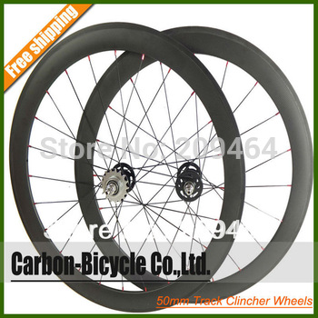 700C 50mm clincher carbon track bike wheels fixed gear fixie bicycle wheelset Flip flop