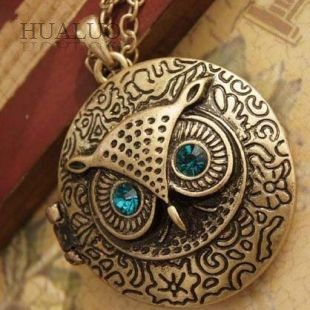 holiday sale Antique Bronze Blue Eye Alloy Owl Round Retro Necklace fashion vintage necklace for woman N31(China (Mainland))