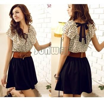 Without Belt! Korean Women Summer New Fashion Chiffon Dress Short-sleeve Dots Polka Waist Mini Beige+Black Free Shipping  b14