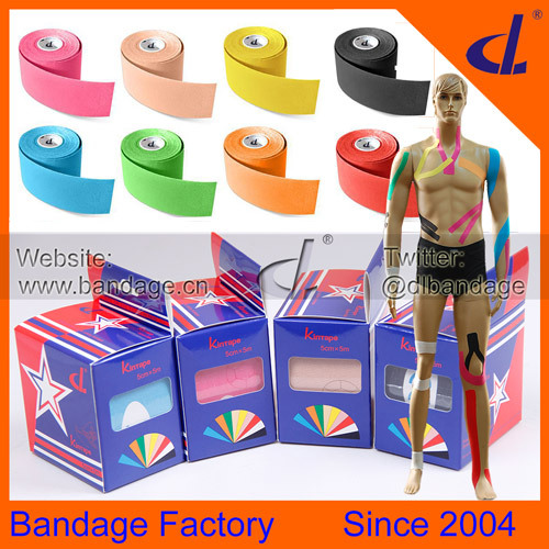 DL Brand Kinesiology Kinesio tape 5cmx5m e-Packet to US Free Shipping d box with Usage Manual Mix Colours volleyball kits(China (Mainland))
