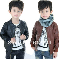 Boy coat 2014 children outerwear winter jacket for boy PUboys leather jackets fur coat  baby clothing kids jackets free shipping