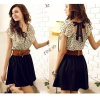 With Belt! Korean Women Summer New Fashion Chiffon Dress Short-sleeve Dots Polka Waist Mini Beige+Black Free Shipping 2792