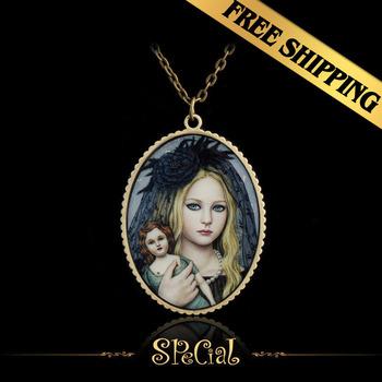 Special Chain Necklaces Handmade Enamel Bronze Classic Vintage Design Pendant Jewelry XLG10E04