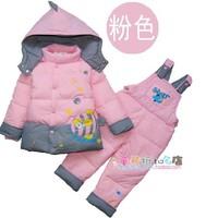 free shipping ! boy girl's down jacket in winter Han2 ban3 children's coat baby down jacket suit (2 piece)