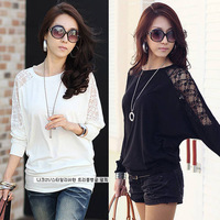 free shipping 2014 women new fashion white black long sleeve lace knitted loose plus big size t shirt blouses tops M-4XL 250