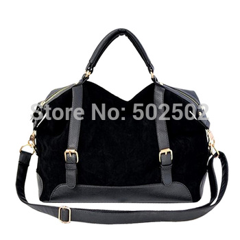 2013 Free Shipping ladies fashion tote, classic black and blue tote bag, second layer leather bag, women leisure leather handbag
