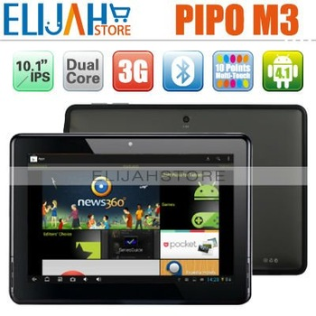"In Stock 10.1"" PiPO M3 3G Tablet PC IPS Screen Rockchip3066 Dual Core Android 4.1 Jelly Bean 1G/16G WIFI HDMI Bluetooth Camera"