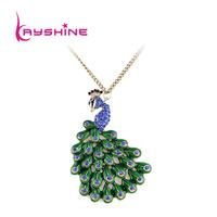 2014 New Arrival  Hot Sale Rhinestone Colorful Fashion Design Alloy Peacock Necklace Pendants Women