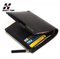 New 100% Genuine leather men wallet Hot fashion Vertical designer Gift for man purse cowskin Zipper Coin Wallet  wholesale