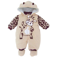 New 2014 toddler newborn baby boy romper thick one piece long sleeve cotton beige cow baby girl romper