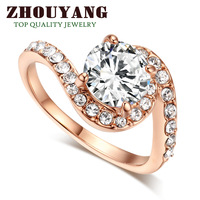 ZYR078 CZ Diamond Crystal Ring 18K Rose Gold Plated Made with Genuine Austrian Crystals Full Sizes Wholesale
