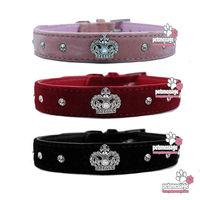 Pet Dog Collar Leash Bling Rhinestones Crwon Charm Wholesale MOQ 12pcs/lot  Pink Velvet Pet Suppliers Product Free shipping