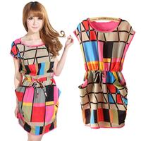 2015 Fashion Women Summer Dress Multi Color Chiffon Plaid Dress Vestidos Geometric Polka Print Casual Mini Dresses Plus Size