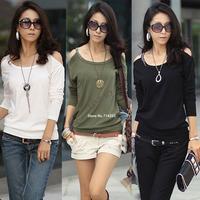 Hot Fashion Women's Lady Cotton Blends Long Sleeve Off Shoulder T-Shirt Top Blouse 4 COLORS Drop shipping 3848