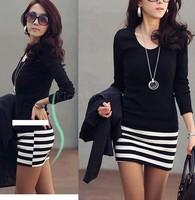 Plus size Korean Popular models Women large size fashion long sleeve Slim striped dress Black +White 3sizes dropshipping 3691
