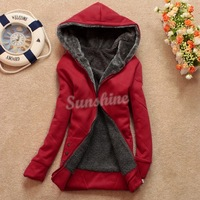 Fashion Casual Womens Hoodie Coat Thicken Outerwear Jacket 3 Colors 3Sizes Retail/Wholesale b11 3278