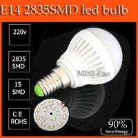 1pcs/lot LED bulb lamp  E14 3W  5w  7W 10W 2835SMD 4w 6w 9w 12w 15w 5730smd Cold white/warm white AC220V 230V 240V Free shipping