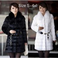 Hotsale! Fast shipping Winter women's 2014 rabbit fur coat faux fur overcoat fox fur outerwear faux fur coat for women s-5xl