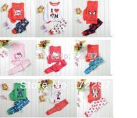 Boys Girls Long Sleeve Pajamas Toddler Kids Sleepwear suit Superman Hello kitty Spider man Batman etc design underwear 2 - 7 yrs