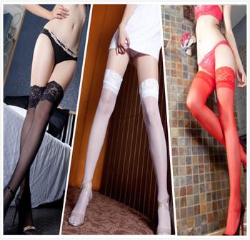 Женская силикон противоскользящих колено - сексуальный чулок черного кружева бедренной ...