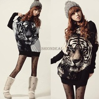 New 2014 Fashion Sweater dress Women Batwing Sleeve Tiger Printed Knitted Tops Pullover Casual Jumper Long Sleeve Sweater 18831