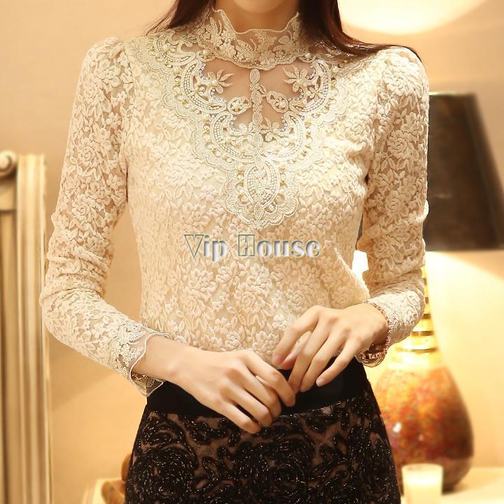 New Arrival 2014 hot Spring Bargain Women blouse New Fashion long sleeve Crochet blouse Lace Chiffon blouse#010 SV002207(China (Mainland))