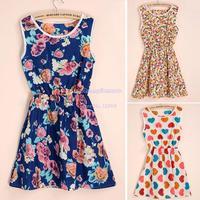 New 2014 Women Summer Mini Dress Top Fashion Crew Neck Chiffon Sleeveless Causal Sundress Sexy Dresses 7 types B16 SV003924