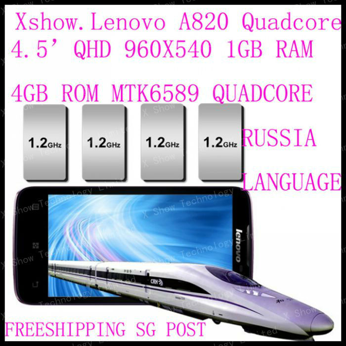 free shipping cn/sg/hk post Original Lenovo A820 phone Quad-core CPU 4GB ROM 1GB RAM 8.0M Camera 56 language black white(China (M