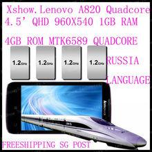 free   shipping cn/sg/hk post   Original Lenovo A820 phone Quad-core CPU 4GB ROM 1GB RAM 8.0M Camera 56 language black white(China (Mainland))