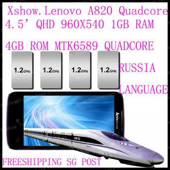 free   shipping cn/sg/hk post   Original Lenovo A820 phone Quad-core CPU 4GB ROM 1GB RAM 8.0M Camera 56 language black white