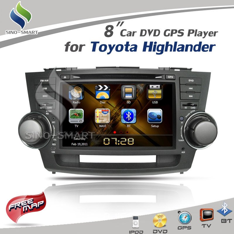 In stock 8 inch Car DVD GPS Player with iPod TV BT Radio ARM11 Wince 6.0 for TOYOTA Highlander CE/ROHS/FCC certified+4Gmap(Hong Kong)
