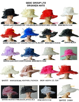 FREE SHIPPING BY EMS.Large brim Lace Organza Hat sinamay fascinator for wedding/church,sell in mix style,brim in 11cm-15.5cm