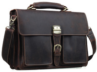 "Mens Brown Thick Leather 16"" Laptop Bags Briefcase Tote Business Office  Cases TIDING Free shipping 1031-3"