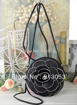 "17x17cm(6.7""x6.7"") 16 colors Circular Camellia Rose woman messenge bag Flower Coin Wallet Cell Phone Messenger Purse handbag"