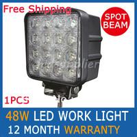 1 PCS 48W Work Light Spot Beam LED WORK OFFROADS LAMP LIGHT TRUCK BOAT 12V 24V 4WD 4x4 Driving Lights Spotlights tractor offroad