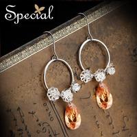Special S925 Silver Earring Hoop Free Shipping Champagne Red Sri Lanka Zircon Water Drop Earring Evening Jewelry ED141184