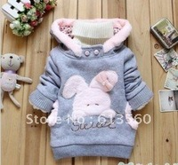 Children's clothing 2013 Autumn and winter new cartoon little bunny fleece girls and boys Hoodies hedging outwear coats  ok307