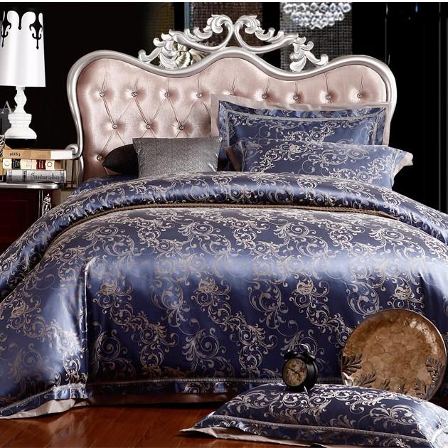 Hot!silk bedding set Queen King size 4pcs Noble Luxury bed set linen tribute silk satin jacquard duvet cover sheet bedclothes(China (Mainland))