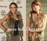 2014 NEW Knitted Rabbit Fur Vest For Women With Raccoon Fur Collar Fashion Gilet Hot Waistcoat Winter Jacket  200