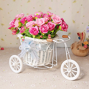 Free shipping, flowers + vase Small floats rose artificial decoration flower Home furnishings (FL130057)(China (Mainland))
