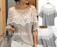 2014 women fashion medium-long t shirt female sweet lace cutout shirt women handmade crochet cape collar batwing sleeve blouse