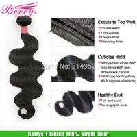 Berrys fashion hair products,1pcs/lot peruvian virgin body wave,goldenbeautyhair,6A plus,no shedding ,100% human hair