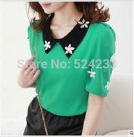 A23*2014 New Blusas femininas Women Fashion Flowers Embroidery Turn-down Collar Chiffon Shirts Summer Short-sleeved Tops&Blouses