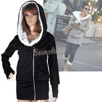 Fashion Jacket sweatshirts for women Hoodie Coat Warm outerwear jackets coats Hooded 5 colors b6 3269