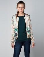 2013 New Brand Ladies Retro Ink Printed Mandarin Collar Long Sleeve Silk Jacket,Women's Thin Zip Casual Short Coat jk03