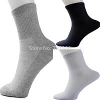 20pcs=10pairs,men polyester cotton sports socks casual men's solid color half tube socks.men plus size socks